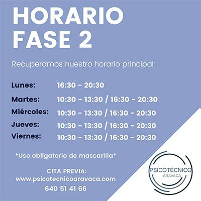 Nuevo horario fase 2